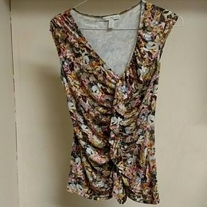 Weston Wear pink and brown flower print top size M